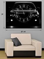 Фотографическая картина с часами «Черный автомобиль»