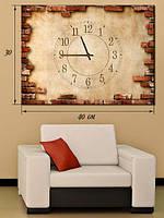 Фотографическая картина с часами «Штукатурка и кирпичная кладка»