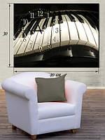 Фотографическая картина с часами «Клавиатура фортепиано»