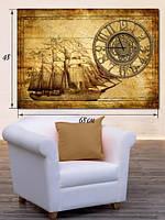 Картина с часами  48x68 на холсте «Корабль»