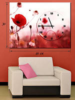 Фотографическая картина с часами «Цветок мака»