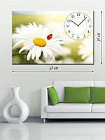 Картина с часами  38x58 на холсте «Божья коровка»
