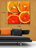 Картина с часами  35x35 на холсте «Апельсиновая радость»