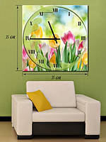 Картина с часами  35x35 на холсте «Тюльпаны»