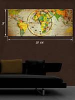 Картина с часами 21x50 на холсте «Время путешествий»
