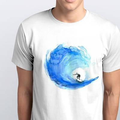 Футболки мужские, серфингист по волнам
