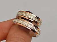 Обручальное кольцо серебро СПАСИ И СОХРАНИ с золотыми пластинами, все размеры