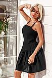 Платье-клеш на тонких бретельках черное, фото 2