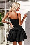 Платье-клеш на тонких бретельках черное, фото 3