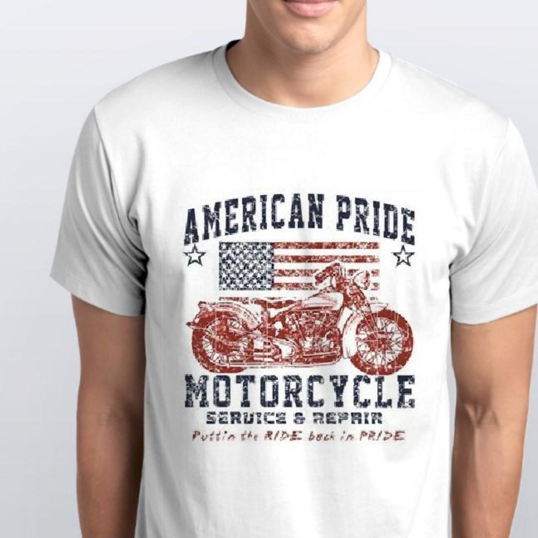 """Футболка чоловіча біла з малюнком """"Американський мотоцикл"""""""