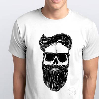 Футболка чоловіча череп з бородою