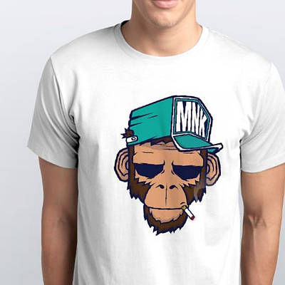 Футболка мужская обезьяна в кепке