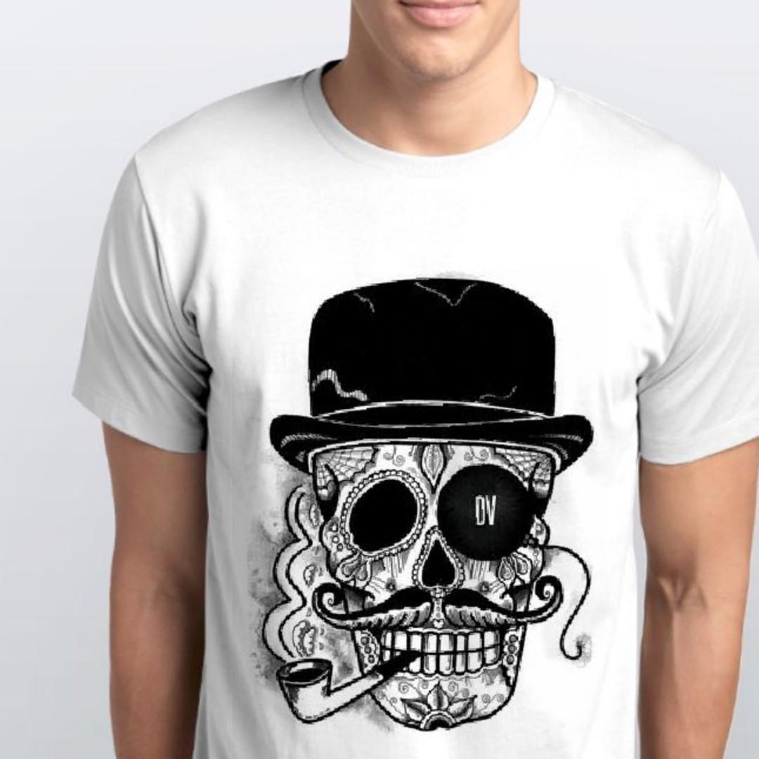 Футболки мужские, череп в шляпе с трубкой