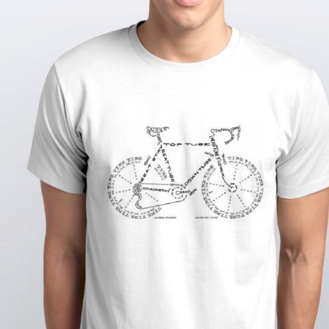 Футболка чоловіча біла з принтом велосипед