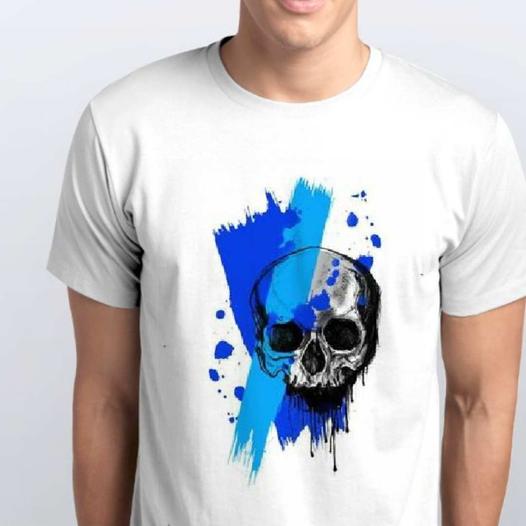 Футболка чоловіча Блакитний череп