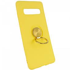 Чехол накладка ColoRing для Samsung Galaxy S10 Plus Summer Ser. TPU + PC С держателем Желтый (972102, фото 2