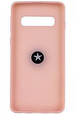 Чехол накладка ColoRing для Samsung Galaxy S10 TPU + PC Summer ser. С держателем Розовый (972058), фото 2