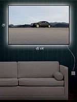 Картина с подсветкой 29х45 «Авто и горы»