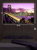 Картина с подсветкой 29х45 «Бруклинский мост в огнях»
