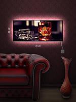 Картина с подсветкой 29х69 «Сигара и виски»