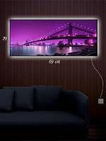 Картина с подсветкой 29х69 «Мост через реку»