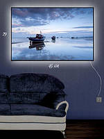 Картина с подсветкой 29х45  «Лодочная очередь»