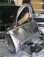 Женская сумка стильная серебристая в форме бочонка(Турция)