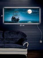 Картина с подсветкой 29х69 «Пираты Карибского моря»