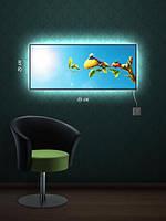 Картина с подсветкой 29х69  «Птичий отдых»