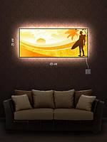 Картина с подсветкой 29х69   «Пляжный отдых»