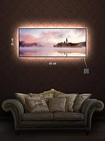 Картина с подсветкой 29х69 «Волшебный замок в тумане»