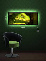Картина с подсветкой 29х69 «Зеленая ящерка»