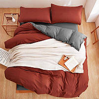 Качественное постельное белье в стиле Лофт терракот/серый евро