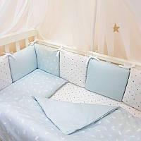 Сменный постельный комплект 3 предмета СКПБ Baby Design Кролики голубой Маленькая Соня(Sonya) Украина 0320224