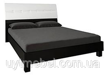 Ліжко Віола 1800 с підйом.хутро. білий глянець/чорний мат. (Миромарк)