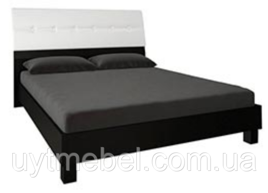 Ліжко Віола 1600 з під.мех. білий глянець/чорний мат. (Міромарк)