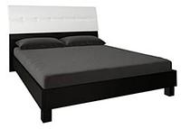 Кровать Виола 1600 с подъём.мех. белый глянец/чёрный мат. (Миромарк)