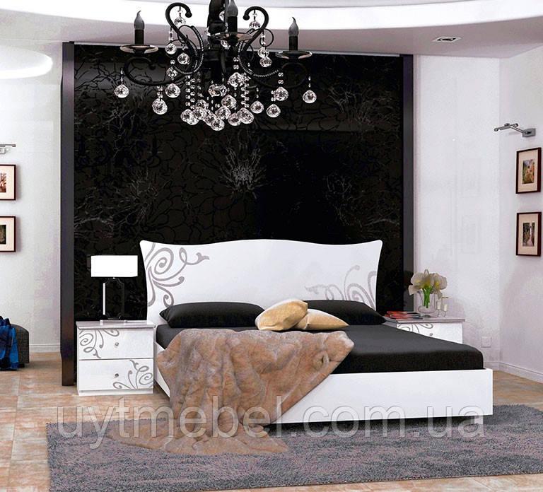 Ліжко Богема 1600  з під.мех. глянець білий (Міромарк)