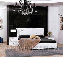 Ліжко Богема 1600 з підйом. хутро. білий глянець (Миромарк)