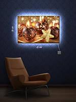 Картина с подсветкой 29х45 «Праздничные свечи»