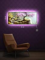 Картина с подсветкой 29х69 «Цветущая сакура»