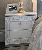 Прикроватка Луиза 2 ящ. белый глянец (Миромарк)