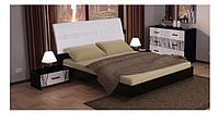 Кровать Терра 1800 с подъем. мех. глянец белый/чёрный мат (Миромарк)