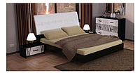 Кровать Терра 1600 с подъем. мех. глянец белый/чёрный мат (Миромарк)