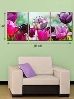 Модульная картина с часами 40х90 на холсте «Изящные тюльпаны»