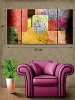 Модульная картина с часами 50х92 на холсте «Разноцветные квадраты»