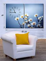 Модульная картина с часами 40х60 на холсте «Ромашки»