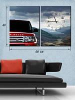 Модульная картина с часами 40х60 на холсте «Машина в горных пейзажах»