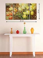Модульная картина 48х90 на холсте «Охапка тюльпанов»