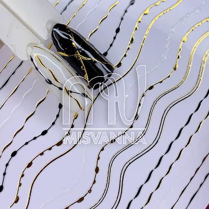 Гнучка стрічка для декору Z-D2982, золото&білий&чорний, фото 2